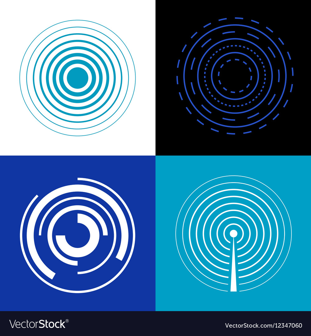Blue circle signal waves Generate sound or radar vector image