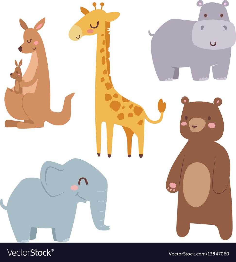 Cute zoo cartoon animals isolated funny wildlife