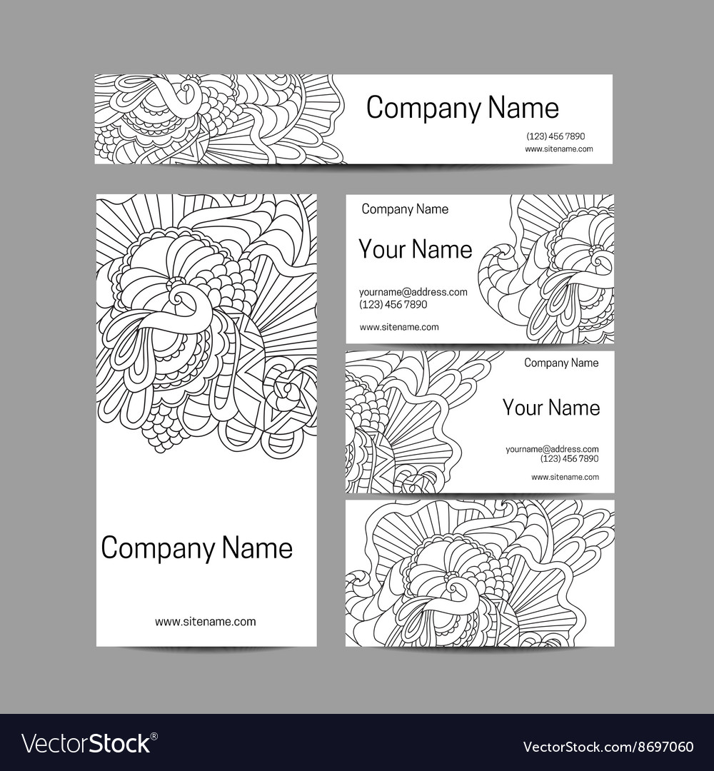 Doodl flower style business card set Corporate