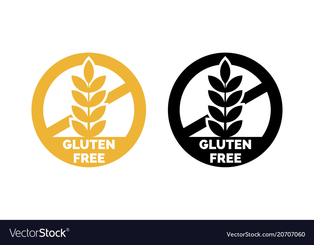 Gluten free label wheat cereal icons