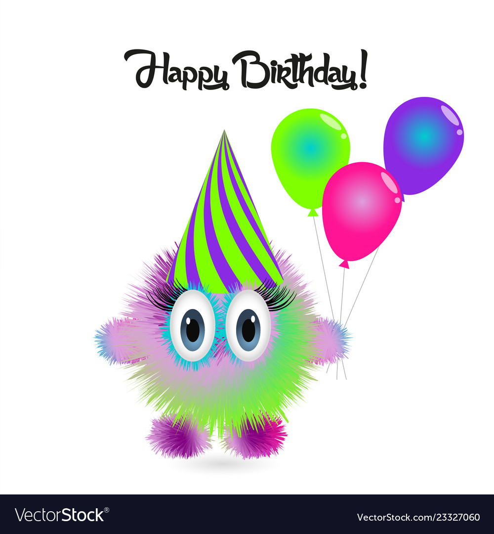 Happy birthday card with funny cartoon colorful