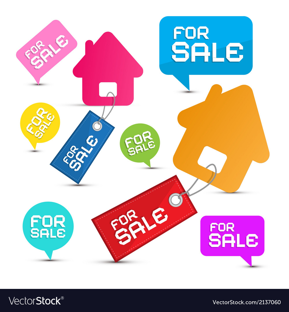House For Sale Paper Icons Set
