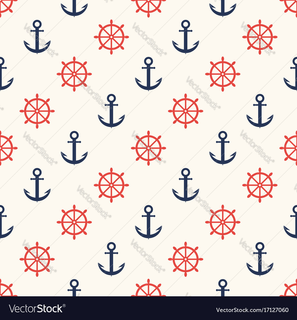 Marine pattern ship helm and anchor navy seamless