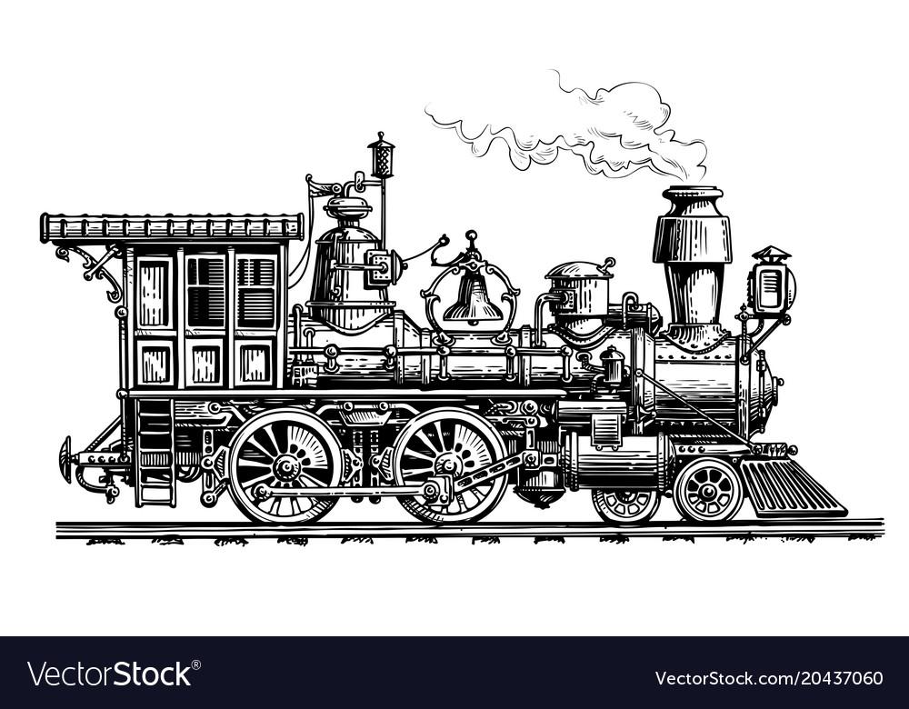 Retro steam locomotive train vintage sketch Vector Image