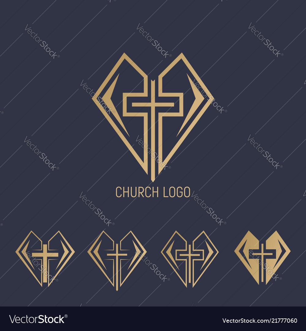 Set logo church logo cross with heart