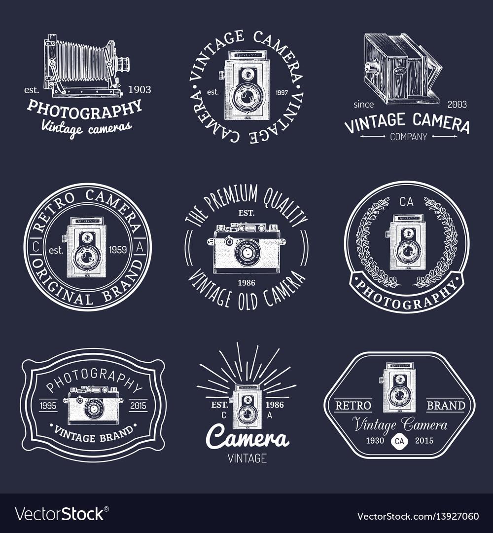 Set of old cameras logos vintage photo