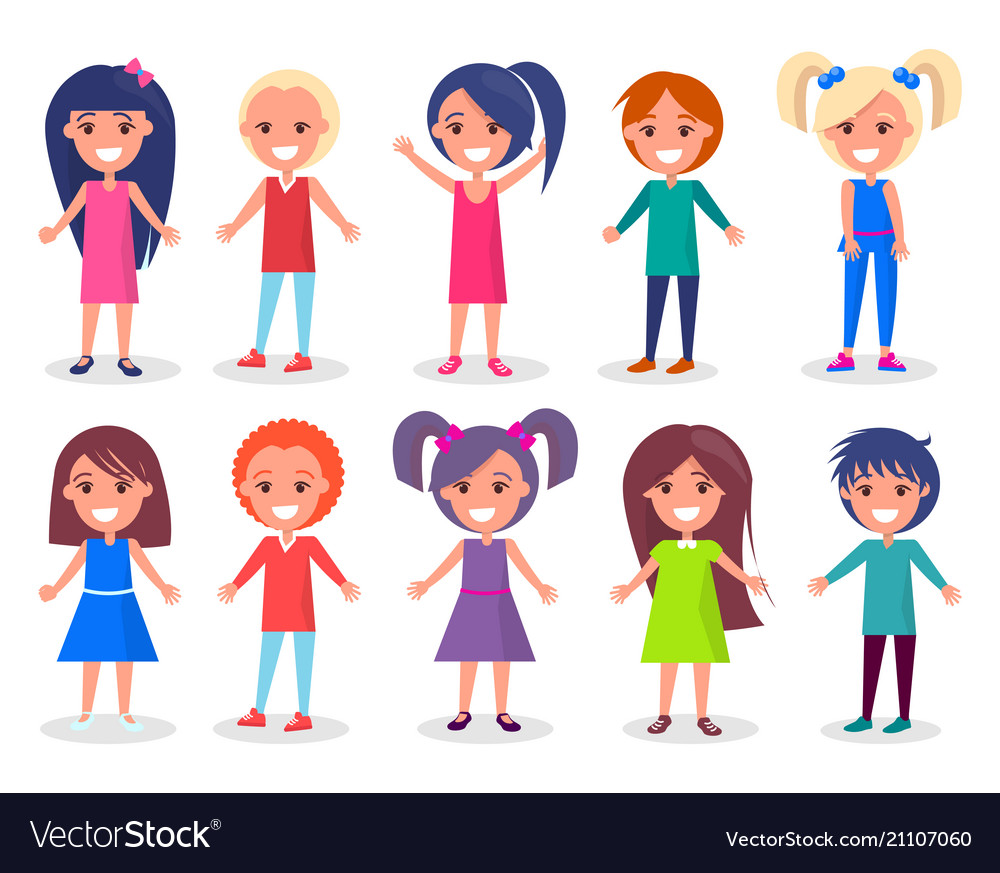 Smiling kids set of boys and girls in color cloth