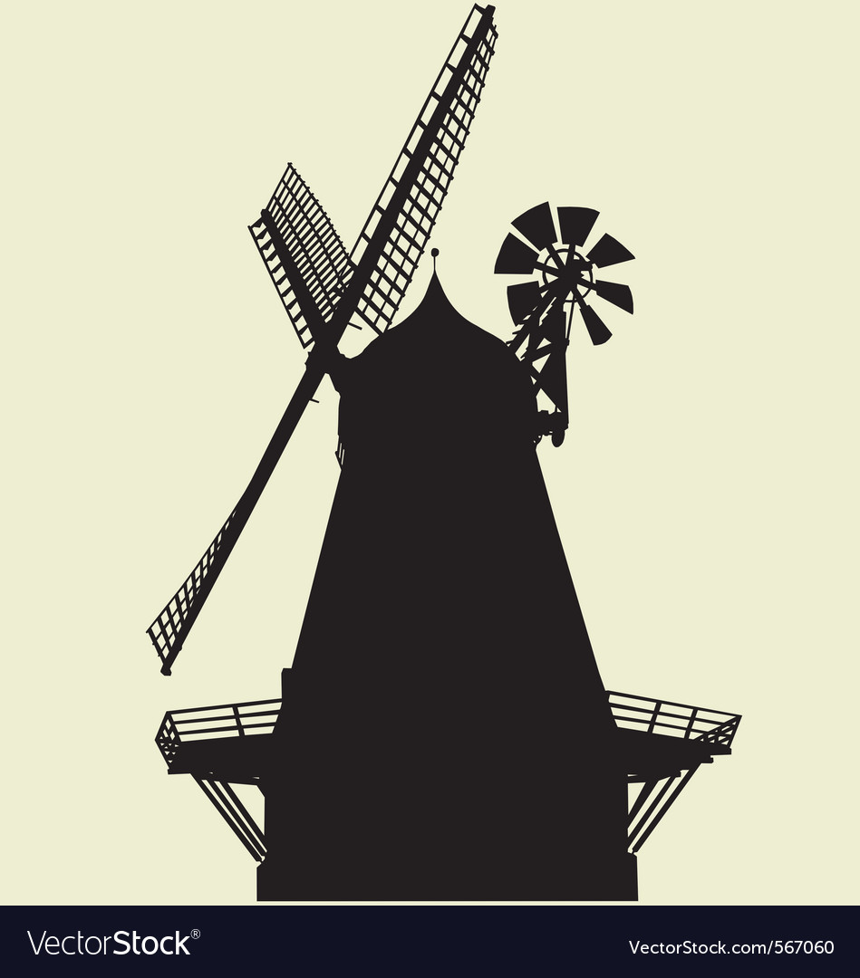 smock windmill silhouette royalty free vector image