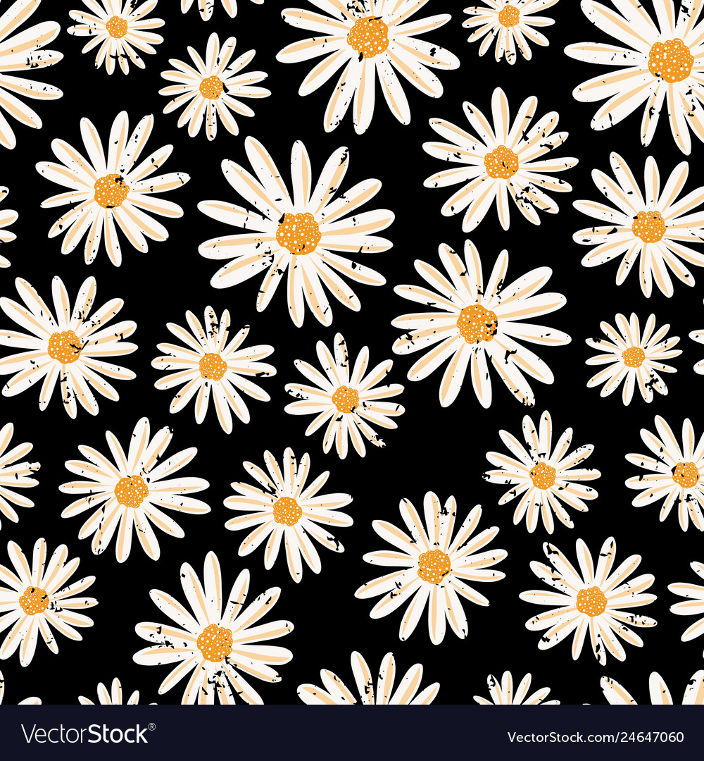 Vintage daisy flowers seamless pattern vector