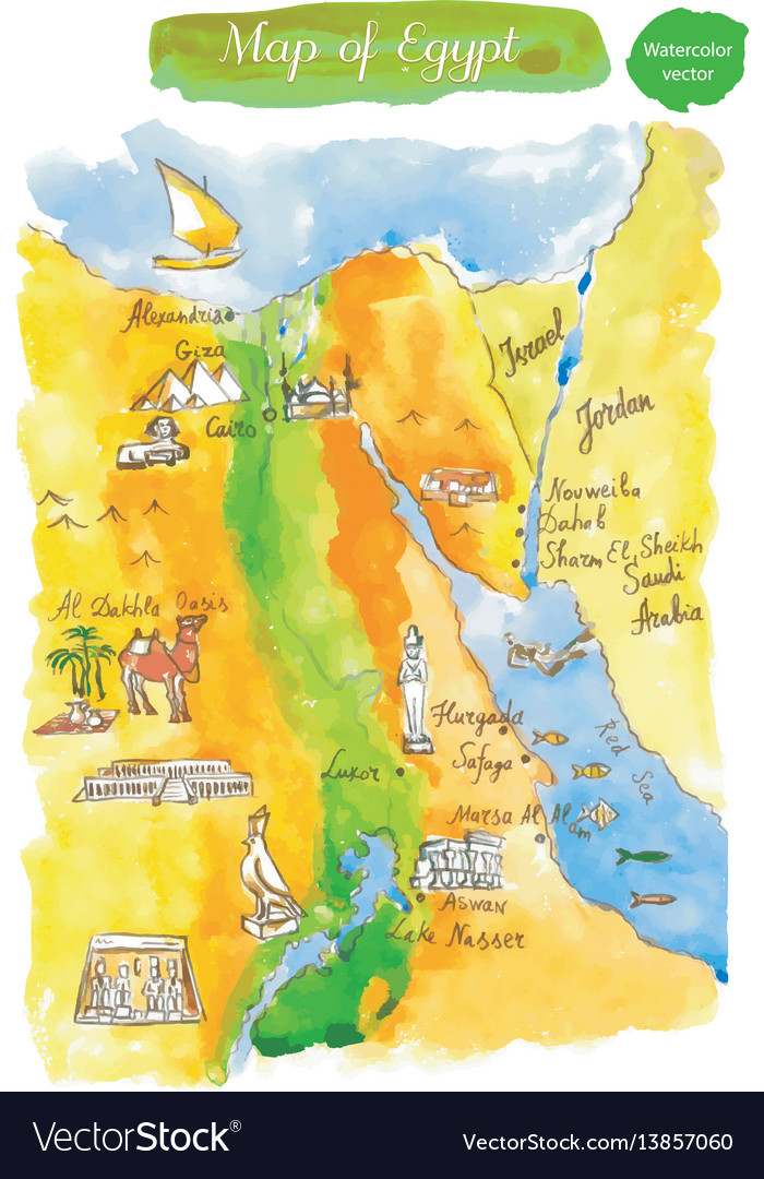 Watercolor map of attractions egypt