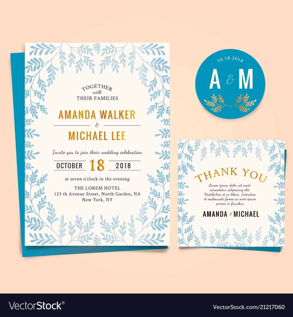 Wedding invitation with vintage leaf frame