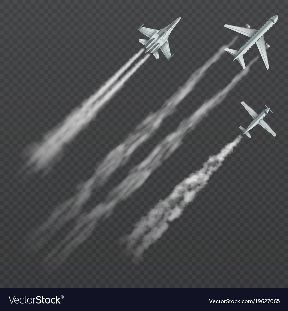 Airplanes and military fighters with condensation