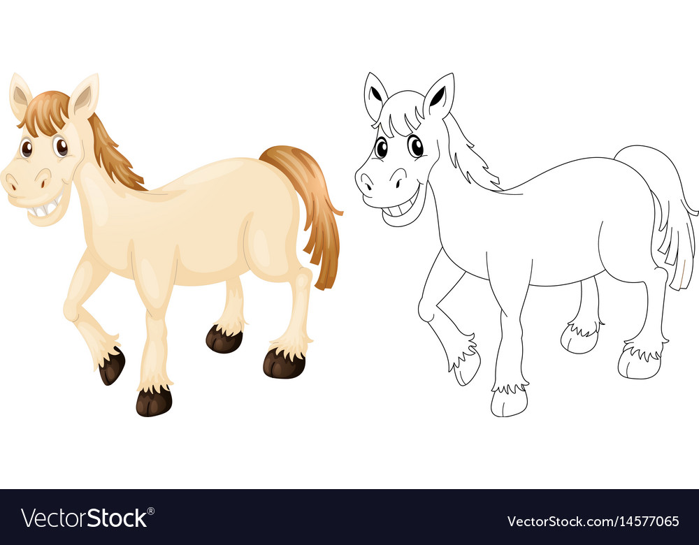 Animal outline for happy horse vector image