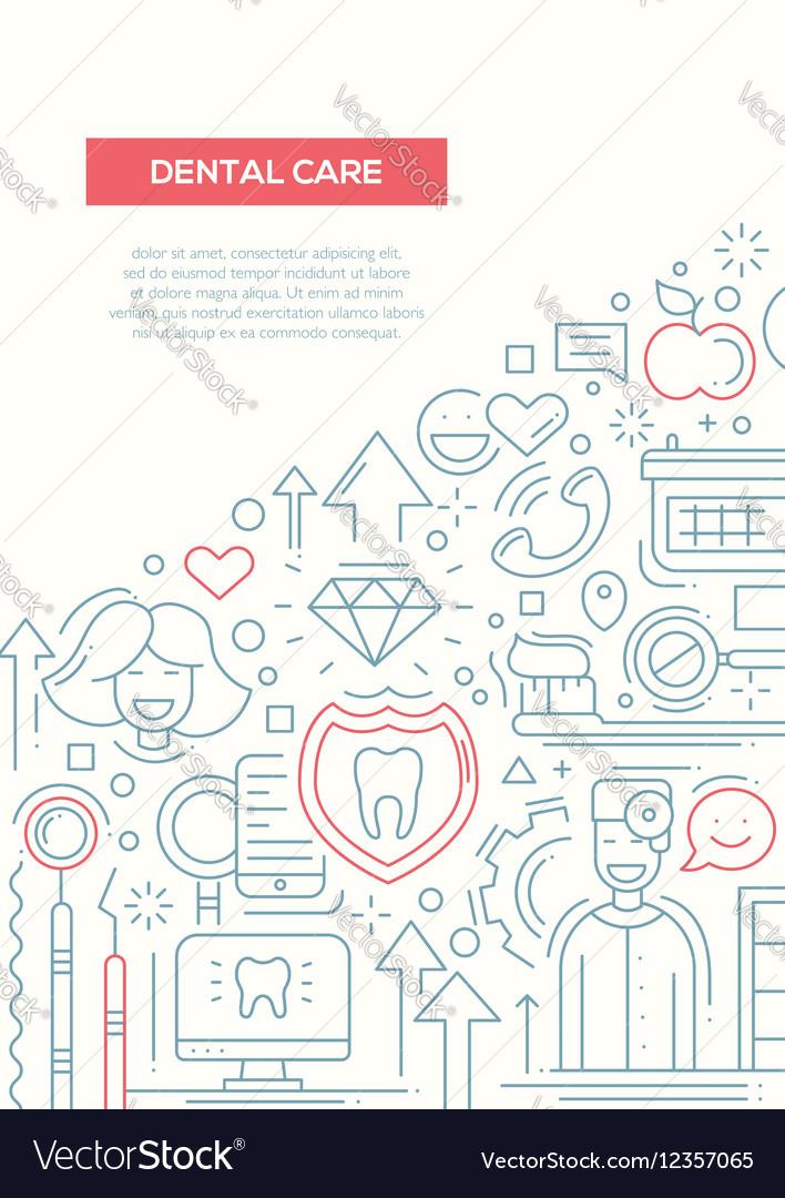 Dental Care - line design brochure poster template vector image