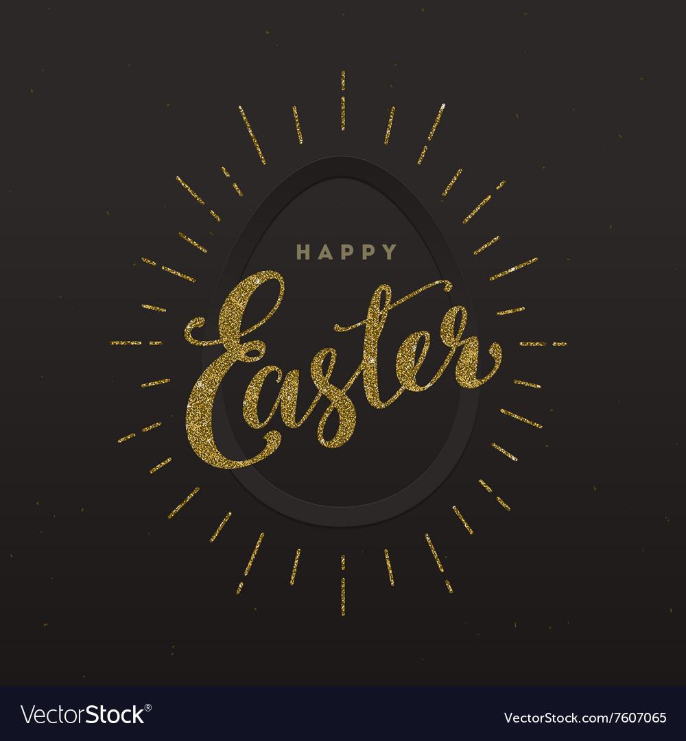 Easter Greeting card - Glitter gold type design