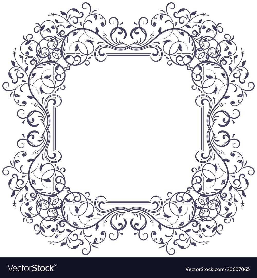 Floral decorative frame black vintage ornament Vector Image