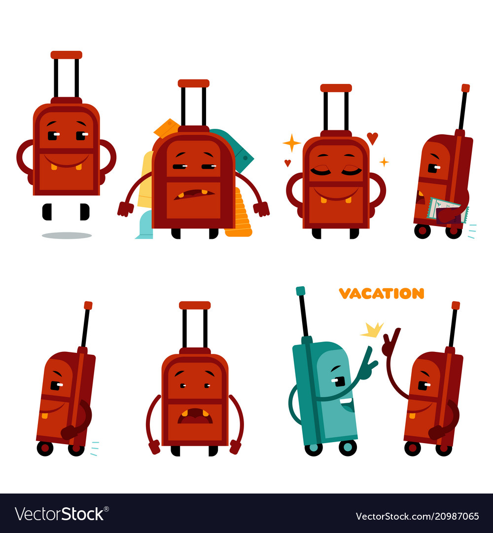 Funny airplane travelling bag character set