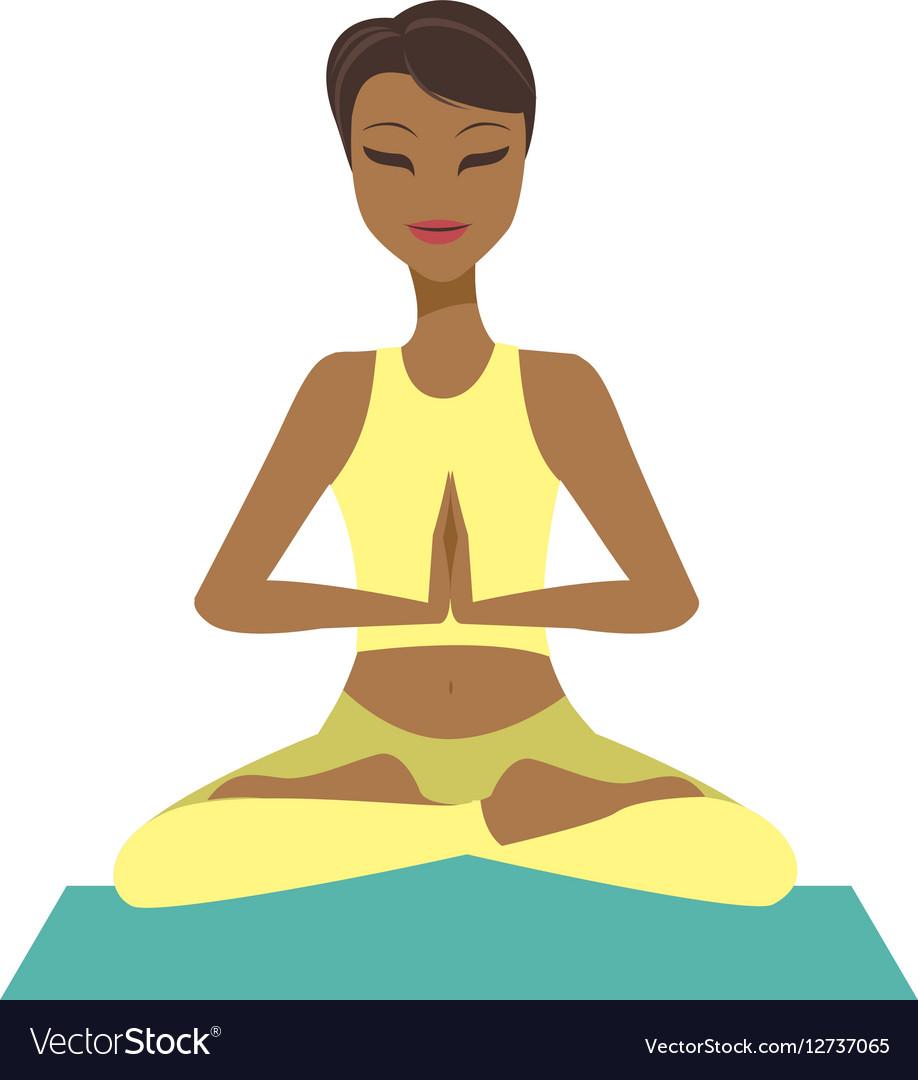 Girl in yoga lotus pose vector image