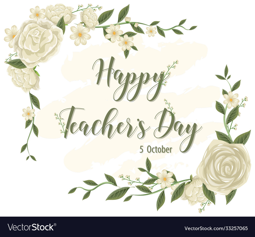 Happy teachers day logo with floral theme