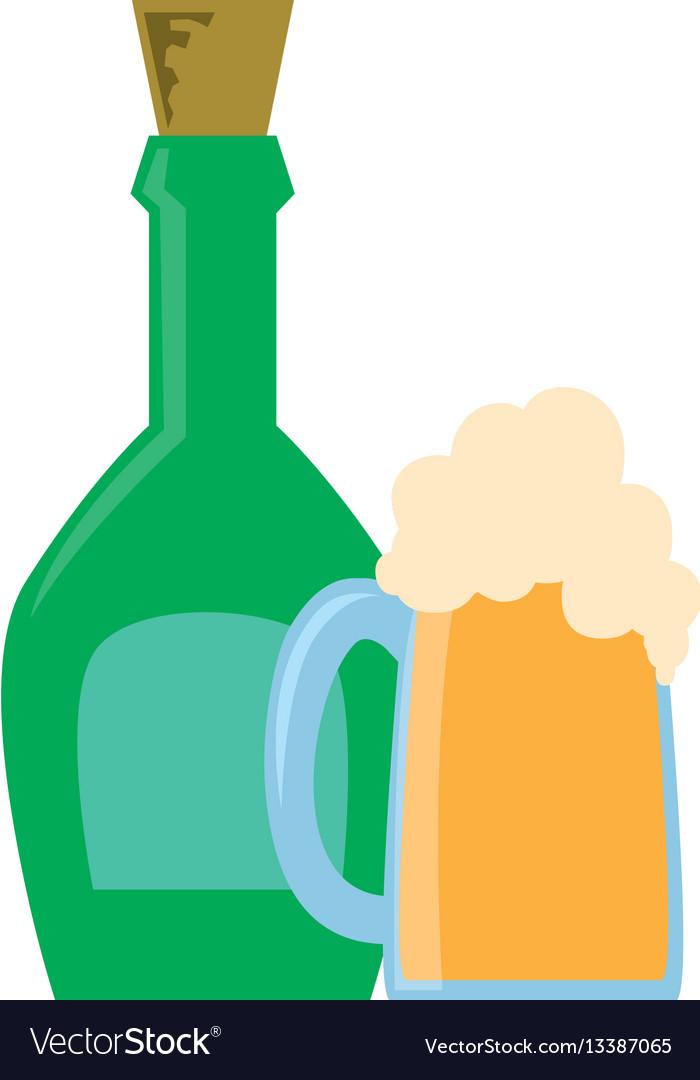 Liquor bottle and foamy beer glass