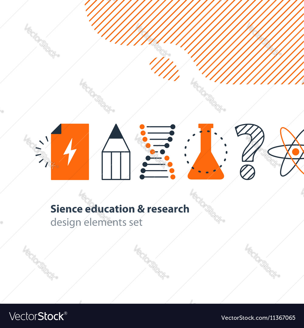 Scientific research science education icons set