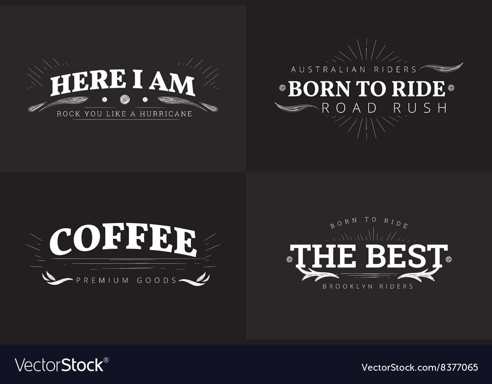 Typography grunge badge design set
