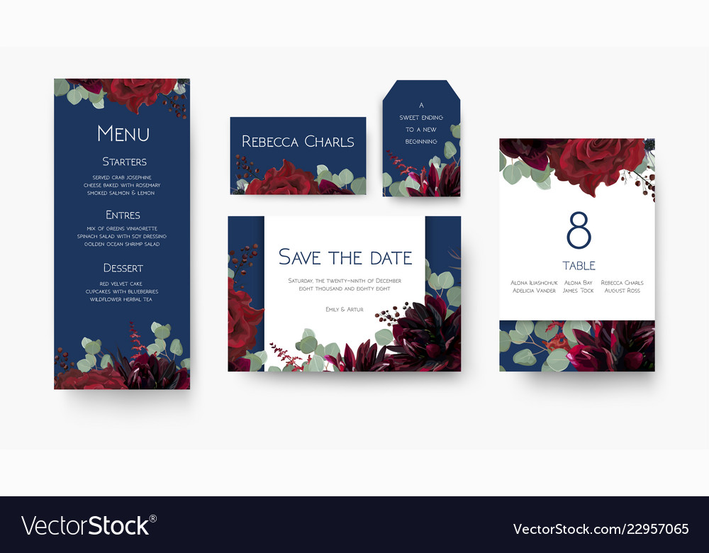Wedding save the date menu label table number