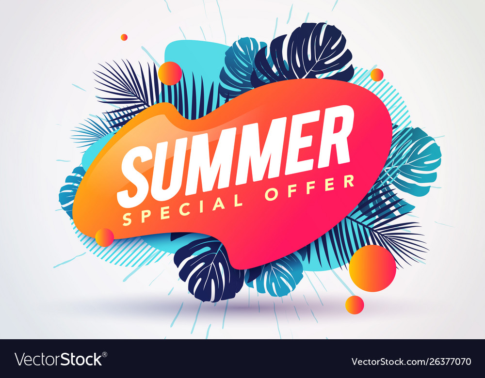 Abstract summer sale banner with tropical leaves
