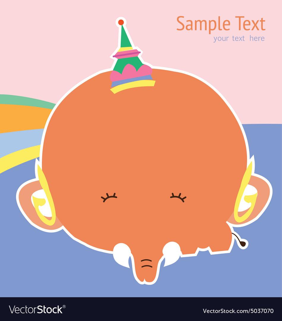 Cute card with cute elephant