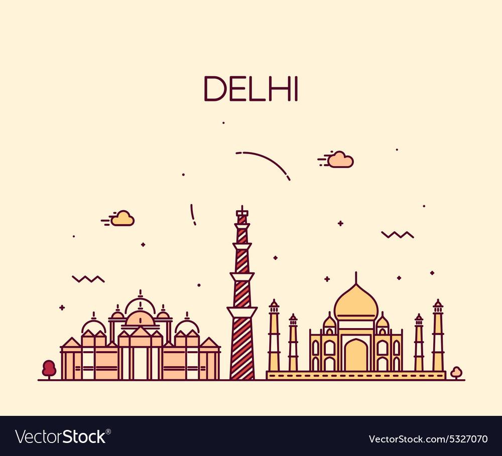 Delhi City skyline Trendy line art