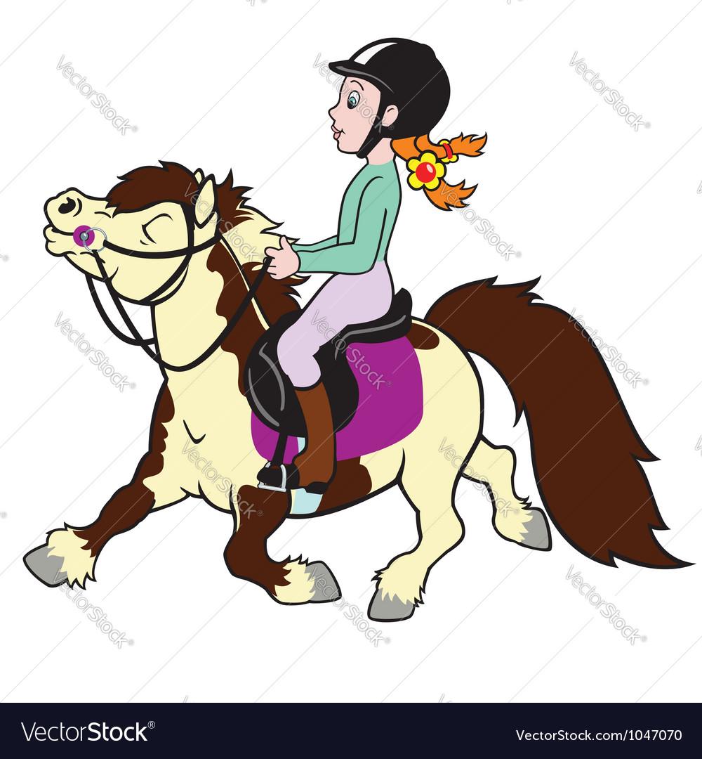 Girl riding pony vector image