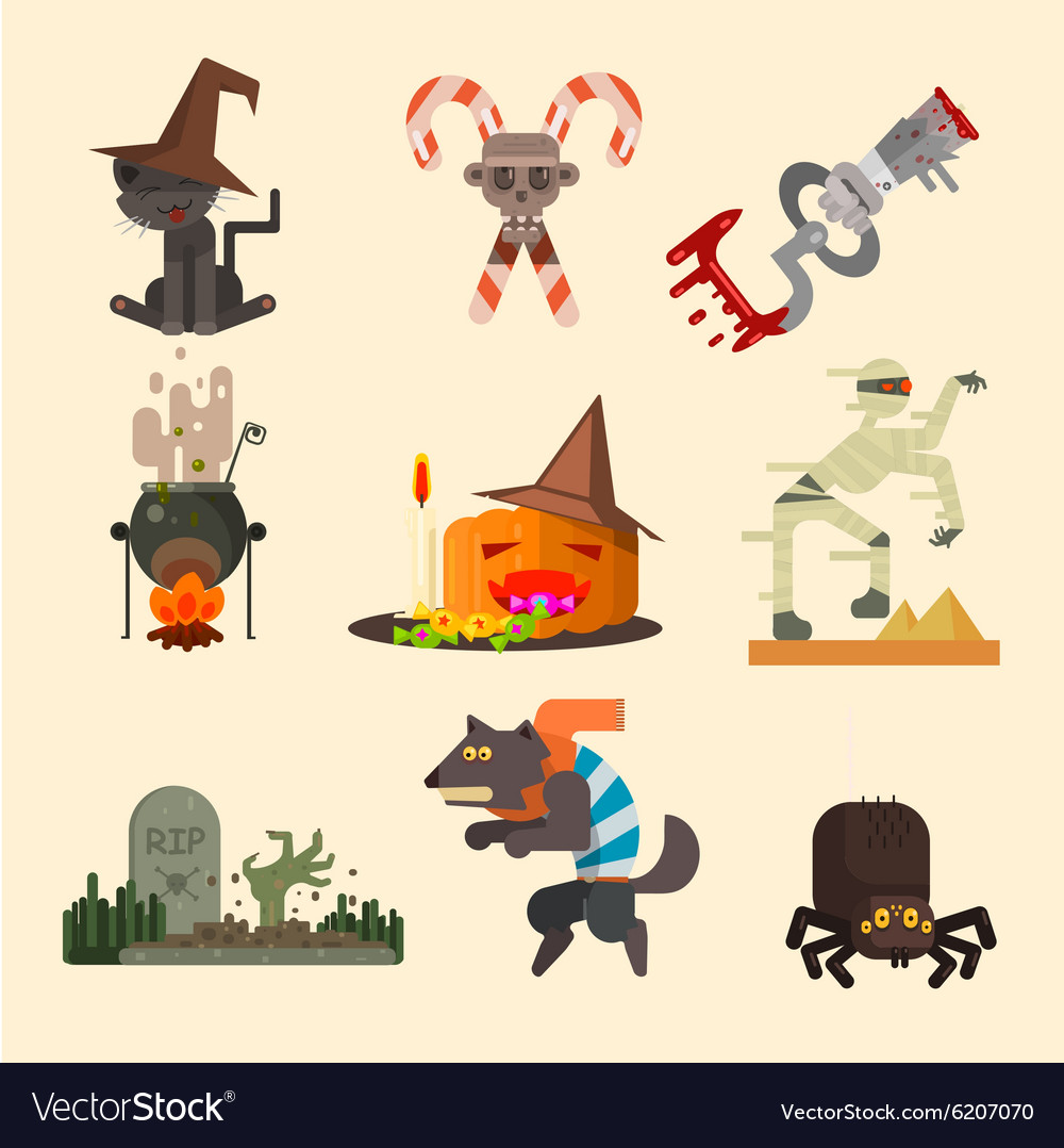 Halloween Attributes Characters Set in Flat Style