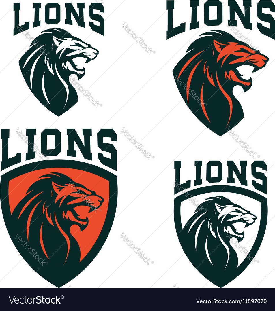 Lions Set of the emblems templates with angry