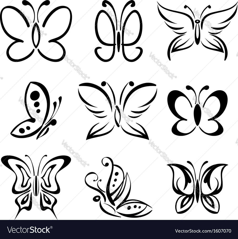 Set of butterfly silhouettes llustration