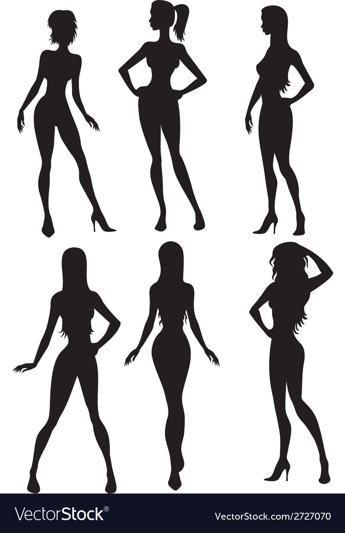 Six girls silhouette vector image