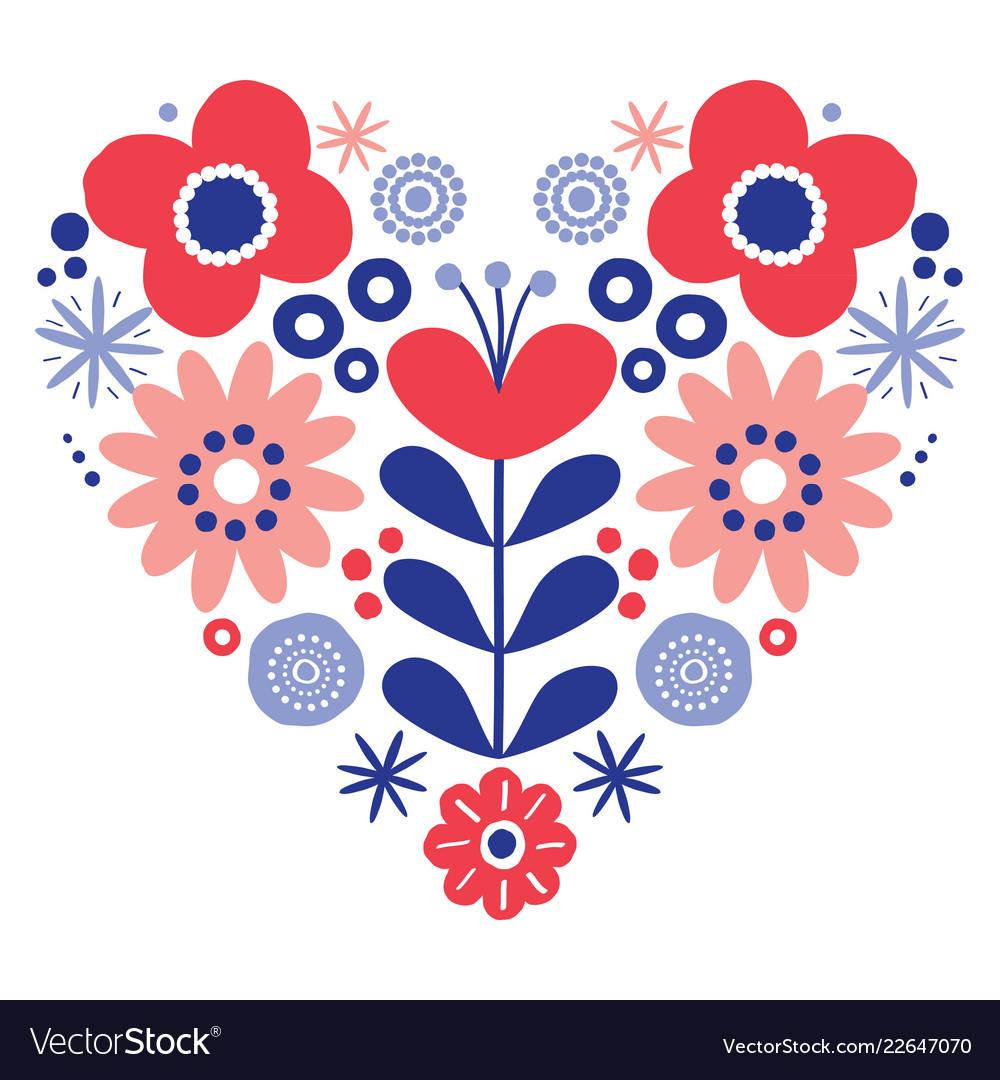 Valentines day floral folk art heart design