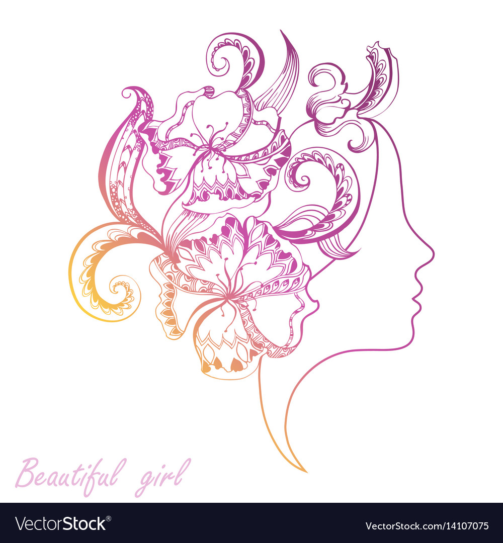 Beautiful girl face with filigree ornate vector image