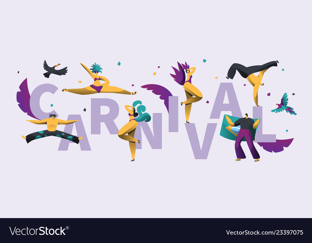 Brazilian carnival horizontal typography poster
