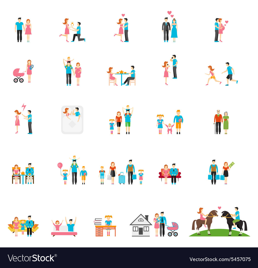 Couple and family flat figures