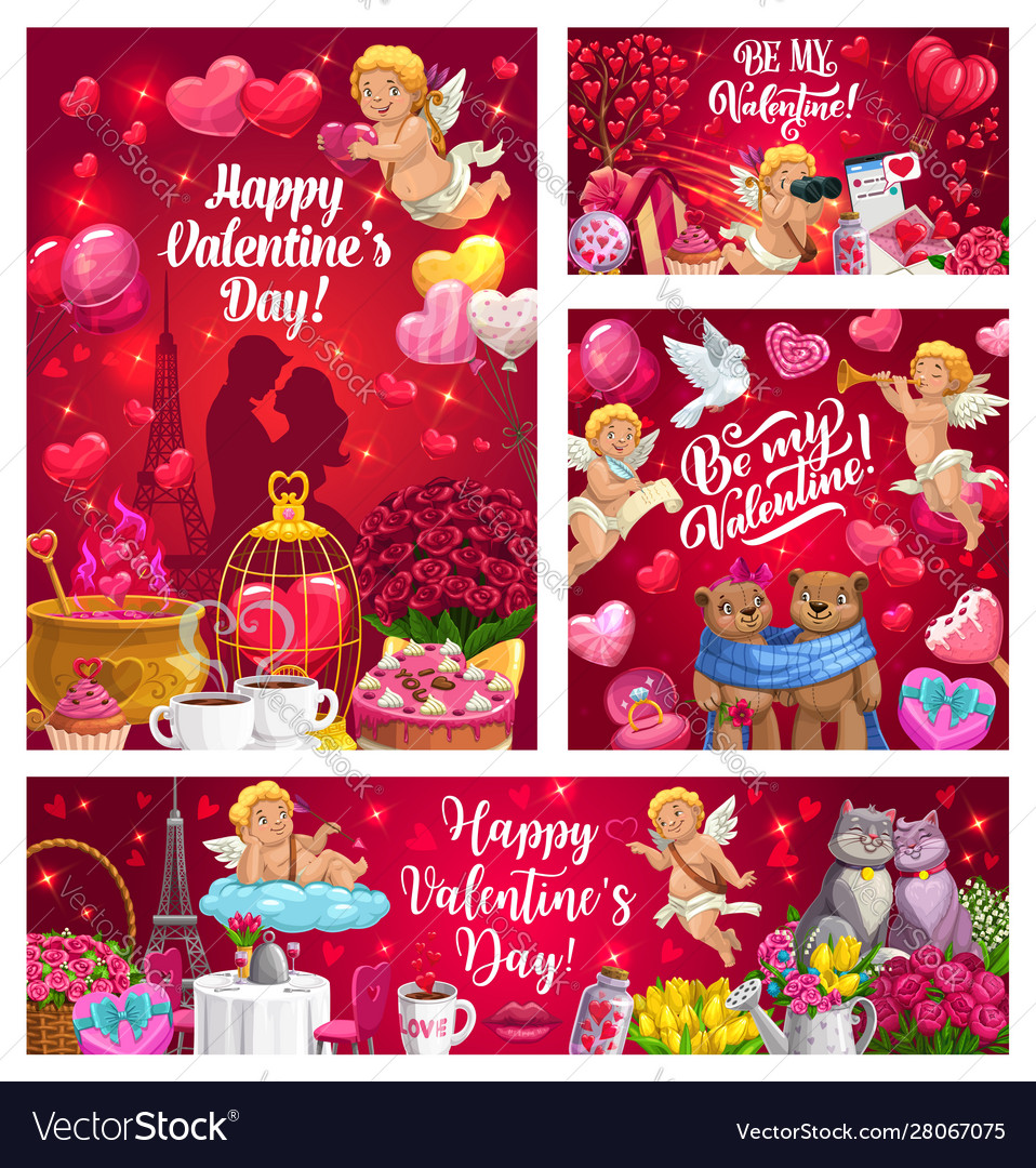 Cupids with valentines day gifts hearts flowers