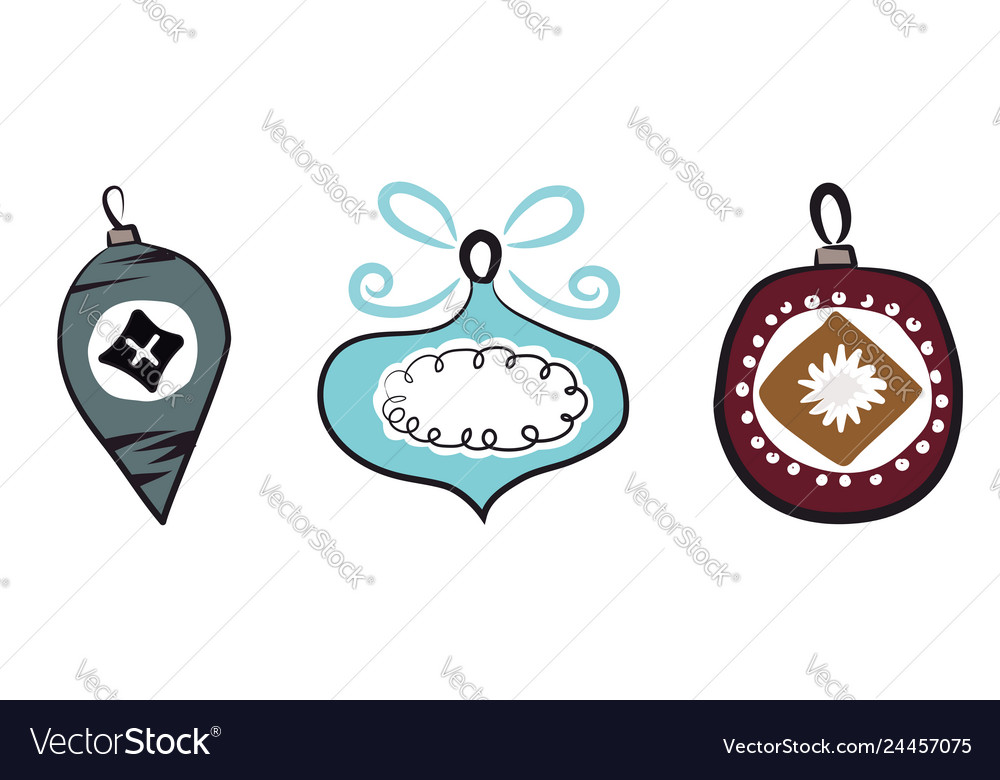 Colorful Christmas Ornaments Drawings.Decorative Christmas Ornaments Or Color