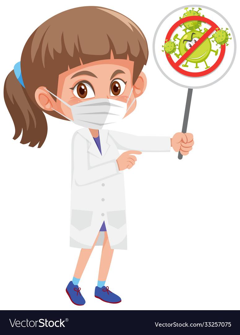 Doctor wearing mask and holding stop coronavirus