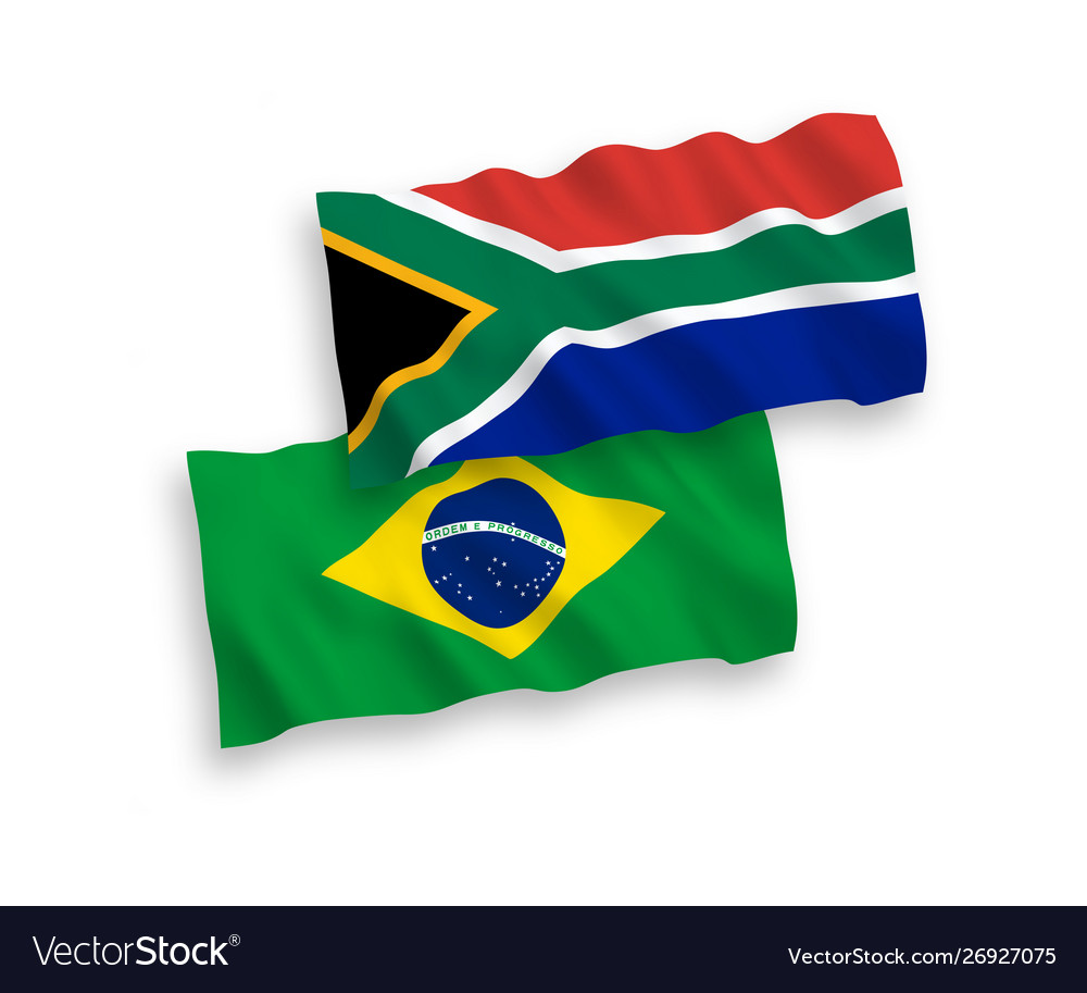 Flags brazil and republic south africa on a
