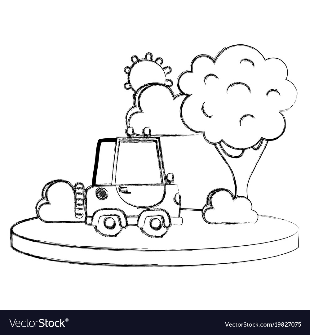 Grunge agrimotor car in the city with tree and sun