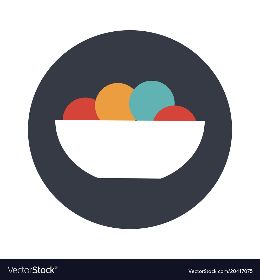 Ice cream color balls in dessert bowl vector image