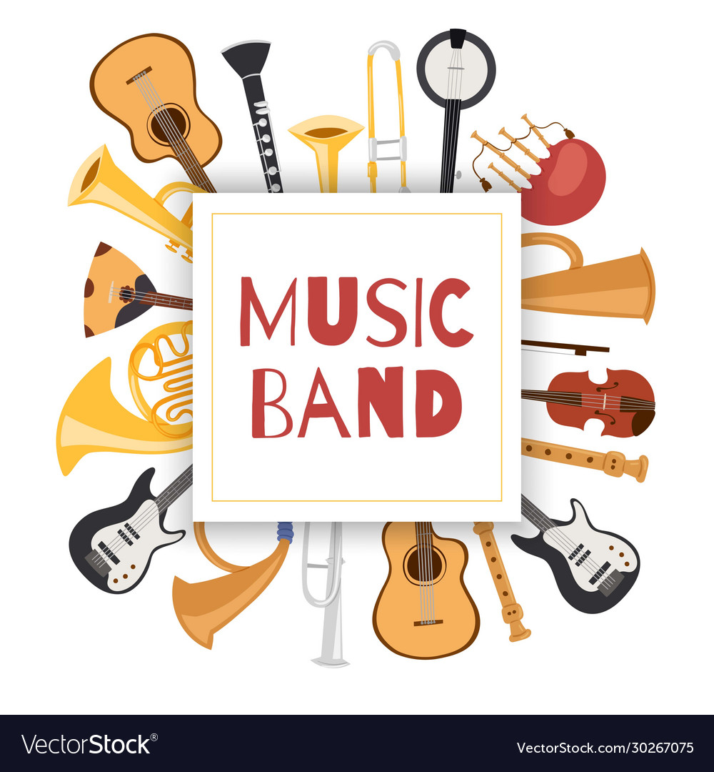Jazz music band banner with musical instruments