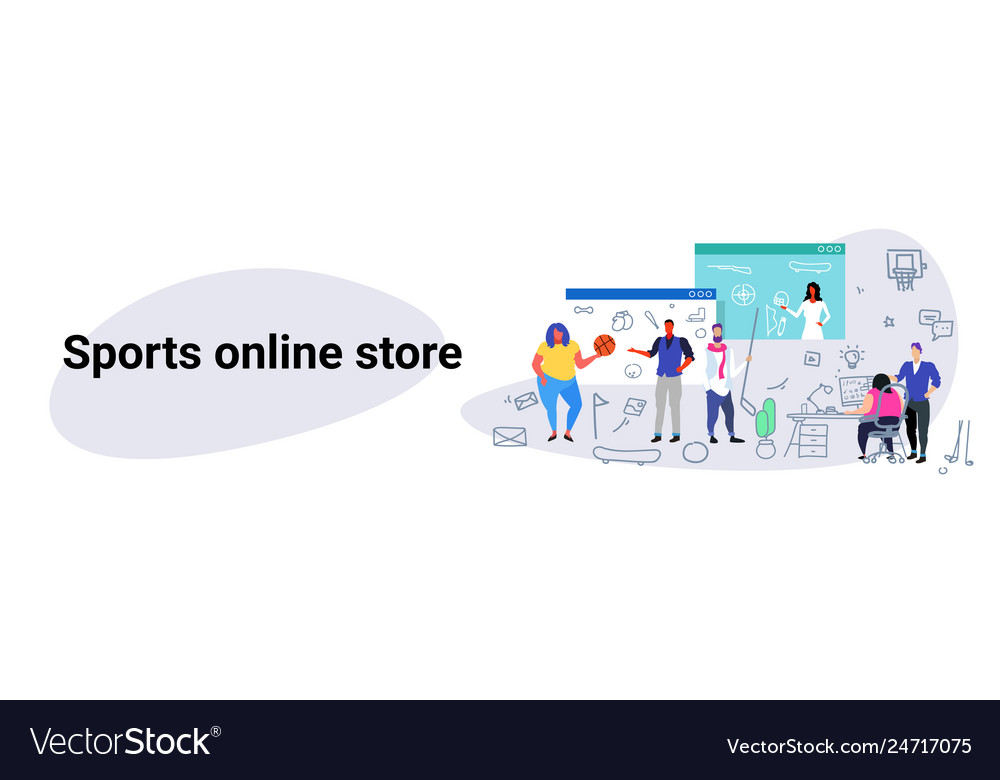 People doing online shopping sports store concept