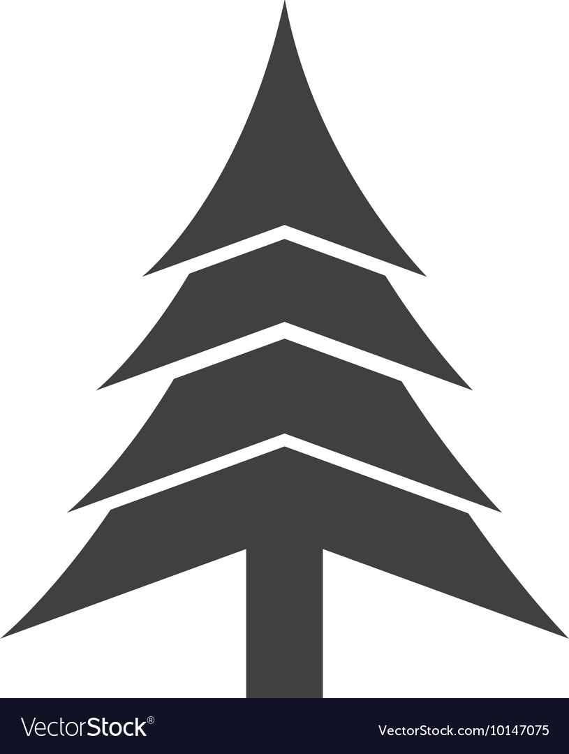 Pine tree merry christmas icon graphic vector image