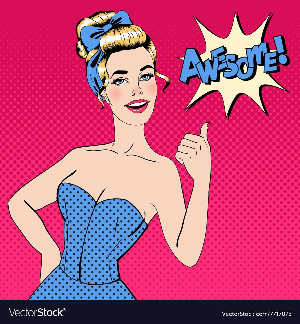 Pop Art Style Woman Gesturing Great
