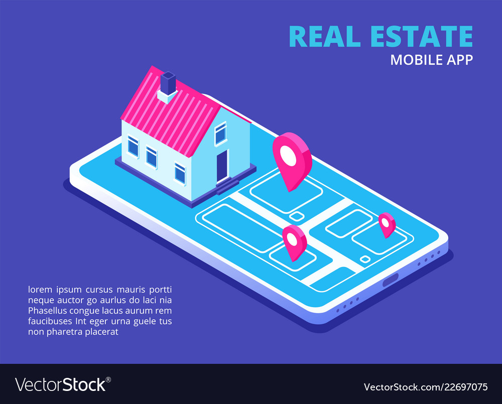 Real estate mobile app isometric house on
